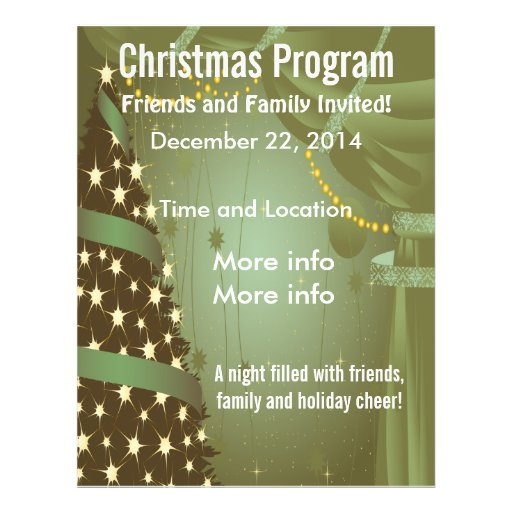 Green Christmas Tree Program Flyer