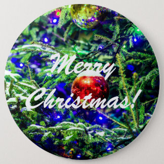 Green Christmas Tree Red Ball Button