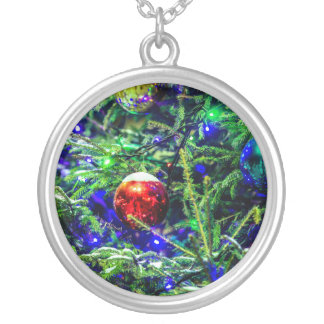 Green Christmas Tree Red Ball Silver Plated Necklace