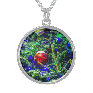 Green Christmas Tree Red Ball Sterling Silver Necklace