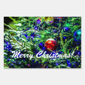 Green Christmas Tree Red Ball Yard Sign