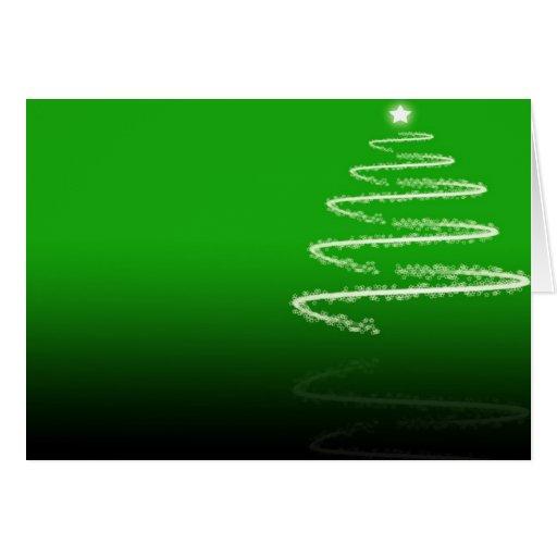 Green Christmas Tree Reflection Christmas Card
