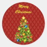 Green Christmas Tree Round Sticker
