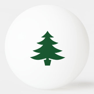 Green Christmas Tree Shape on White Ping-Pong Ball