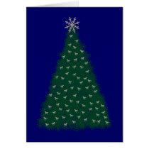 Green Christmas Tree, Silver Running Horses, Navy Card