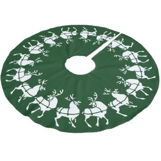 Green Christmas Tree Skirt Holiday Reindeer Decor