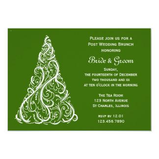 Green Christmas Tree Winter Post Wedding Brunch Card