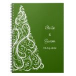 Green Christmas Tree Winter Wedding Note Books