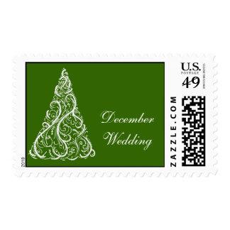 Green Christmas Tree Winter Wedding Postage Stamp