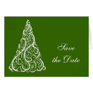 Green Christmas Tree Winter Wedding Save the Date Card