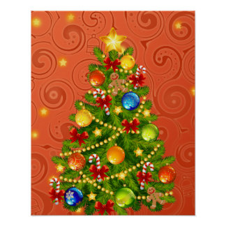 Green Christmas Tree  with decorations Posters
