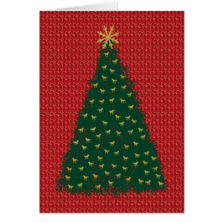 Green Christmas Tree with Gold Running Horses Card