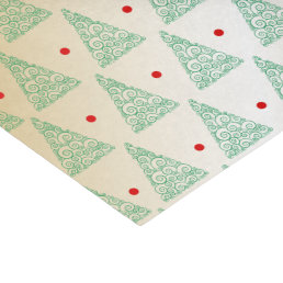 Green Christmas Trees Gold Monogram Tissue Paper