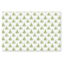 green christmas trees holiday pattern tissue paper