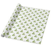 green christmas trees holiday pattern wrapping paper