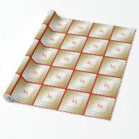 Green Christmas Trees on Gold Monogram Gift Wrap