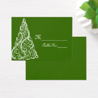 Green Christmas Winter Wedding Place Cards
