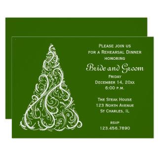 Green Christmas Winter Wedding Rehearsal Dinner Invitation
