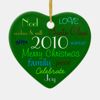 Green Christmas Words Ornament