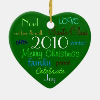Green Christmas Words Ornament