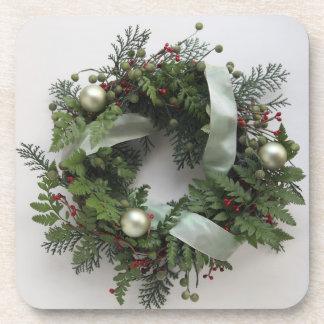 green Christmas wreath cork coasters