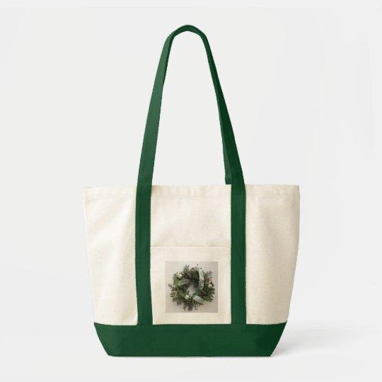 green Christmas wreath impulse tote bag