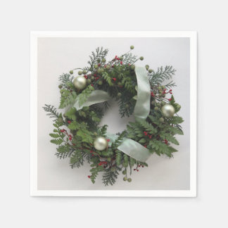 Green Christmas wreath Paper Napkin