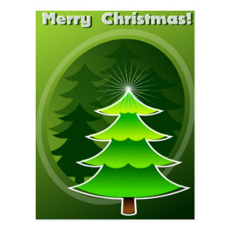 Green christmass tree postcard