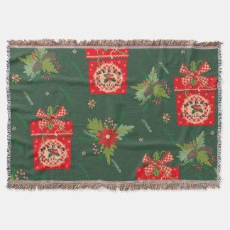Green christmassy blank throw blanket