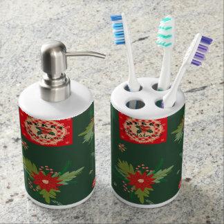 Green christmassy Soap Dispenser set