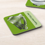 Green Chrome Irish Celtic Harp 6 Coaster Bar Set at Zazzle