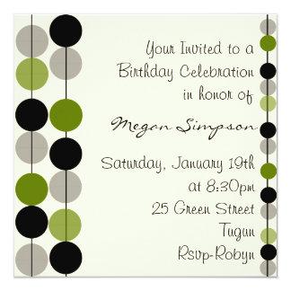 Green Circle Design Birthday Invitation