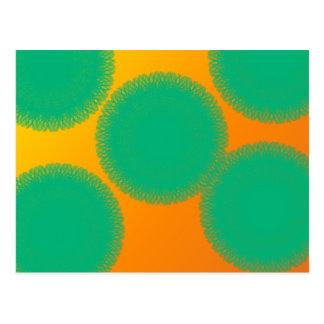 green circle in yellowish orange postcard