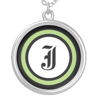 Green Circle Initial Round Pendant Necklace