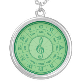 Green Circle of Fifths Silver Plated Necklace