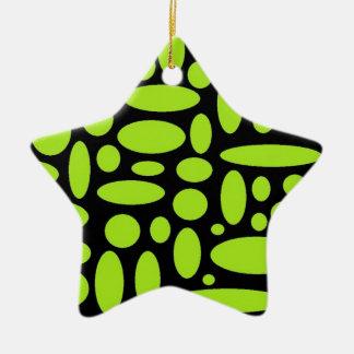 green circles and ovals ceramic ornament