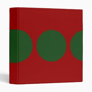 Green Circles on Red 3 Ring Binder
