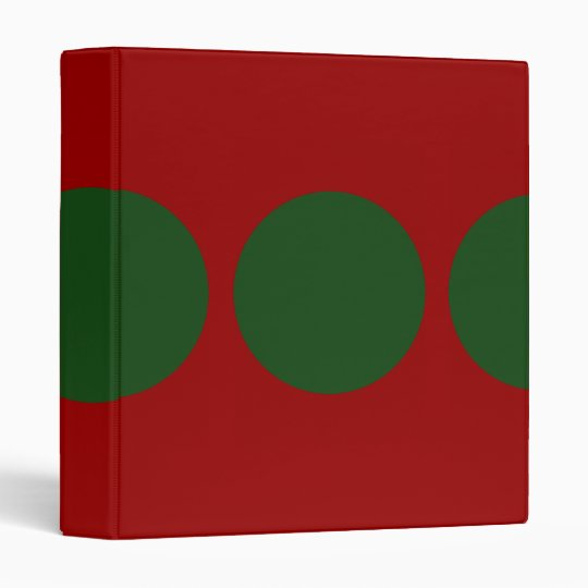 Green Circles on Red 3 Ring Binder