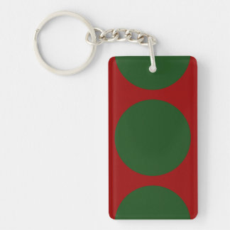 Green Circles on Red Double-Sided Rectangular Acrylic Keychain