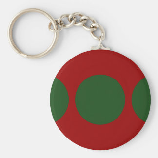Green Circles on Red Keychain