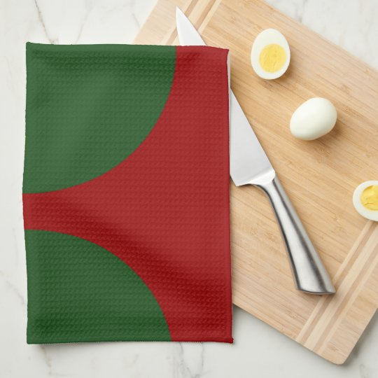 Green Circles on Red Kitchen Towel