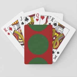 Green Circles on Red Playing Cards