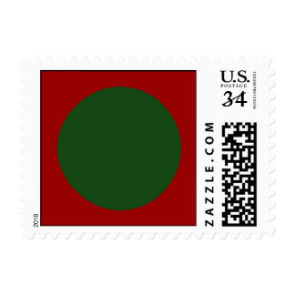 Green Circles on Red Postage