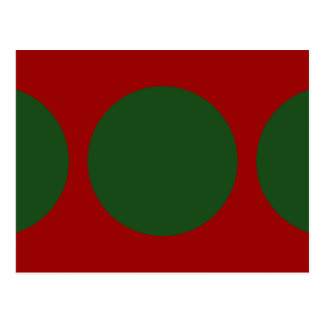 Green Circles on Red Postcard