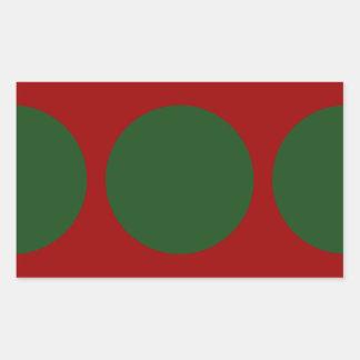 Green Circles on Red Rectangular Sticker