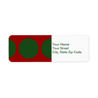 Green Circles on Red return address label
