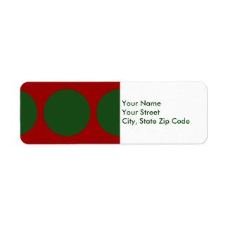 Green Circles on Red return address label