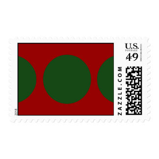Green Circles on Red Stamp