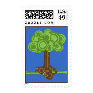 Green Circles Tree Postage Stamp
