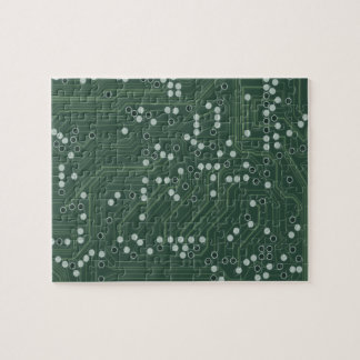 Green Circuit Board Background Pattern Art Jigsaw Puzzle